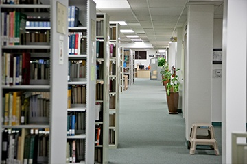 a view of Bookshelves in Research Center