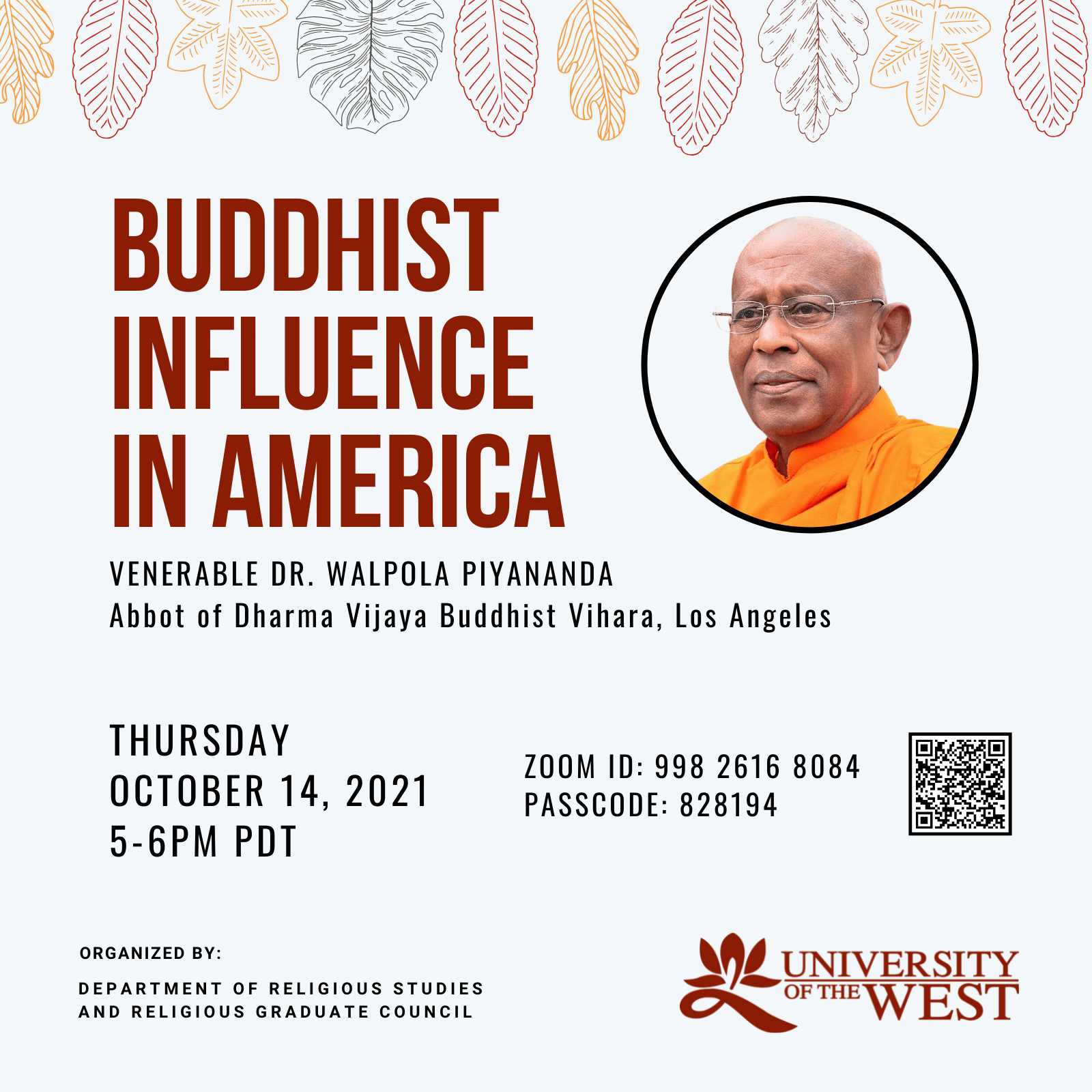 """Ven. Dr. Walpola Piyananda """"Buddhist Influences in America"""" Lecture flyer"""